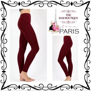 Plus Size Dark Burgundy Seamless Classic Leggings